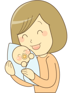 抱っこしているお母さん